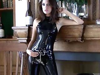 Shiny Black Spandex Apparel And Fetishwear Of Sexy Cougar Olivi
