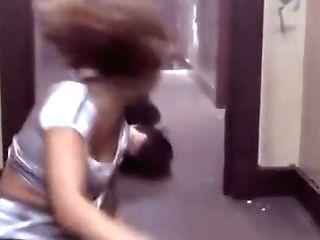 Woman Punch Backside Man