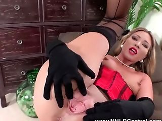 Gorgeous Blonde Natalia Forrest Masturbates In Antique Nylons Corset And Stilettos
