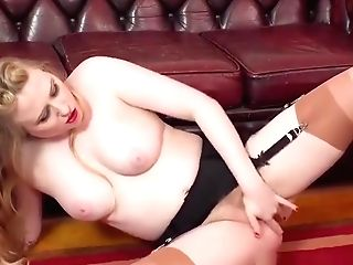 Retro Blonde Thumbs Herself In Antique Nylons High-heeled Shoes Garters